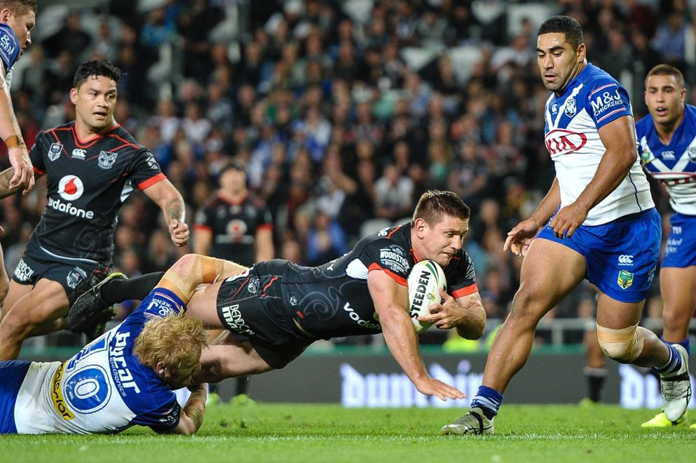 Jacob Lillyman of The Warriors is tackled by James Graham of the Bulldogs during the NRL Rugby League match, Bulldogs v Warriors, Forsyth Barr Stadium, Dunedin, New Zealand, 17th March 2017. Copyright photo: John Davidson / www.photosport.nz