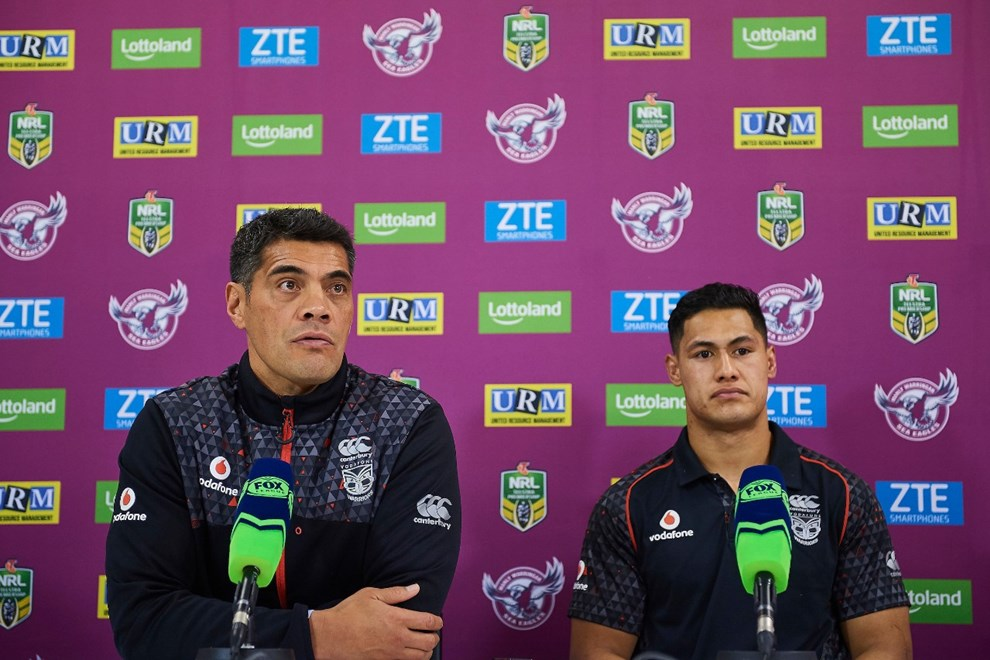 Stephen Kearney and Roger Tuivasa-Sheck of the NZ Warriors answers questions at the press conference after the match. Manly Sea Eagles v Vodafone Warriors