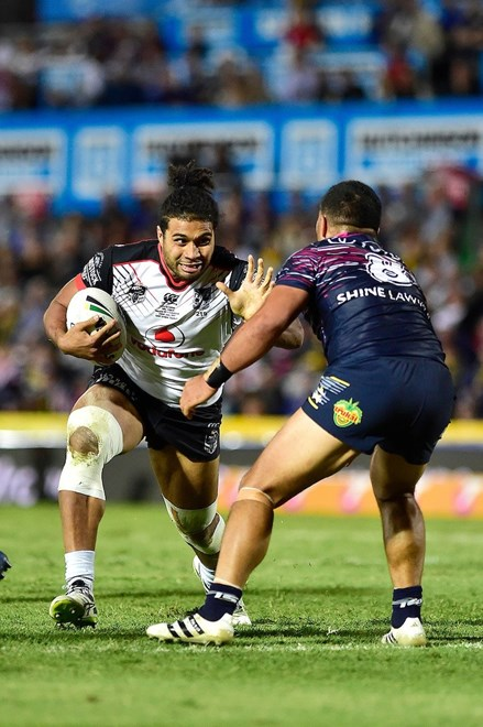 NZ Warriors Chris Satae on debut. North Queensland Cowboys v Vodafone Warriors, Round 20 of the 2017 NRL Rugby League Premiership season at 1300Smiles Stadium,Townsville, Australia. 22 July 2017. Copyright photo: Wesley Monts / www.photosport.nz