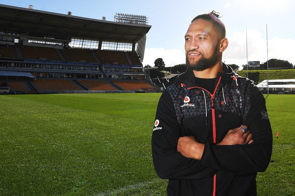 Manu Vatuvei during a media session after announcing his departure from the Vodafone Warriors for English Super League Club Salford. Mt Smart Stadium Auckland, New Zealand. NRL Rugby League. Tuesday 11 July 2017 © Copyright photo: Andrew Cornaga / www.photosport.nz