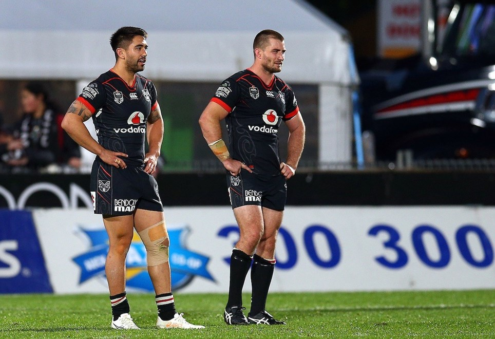 Shaun Johnson and Kieran Foran. Vodafone Warriors v Manly Sea Eagles, 2017 NRL Rugby League Premiership season at Mt Smart Stadium, Auckland, New Zealand. 27 August 2017. Copyright photo: Renee McKay / www.photosport.nz