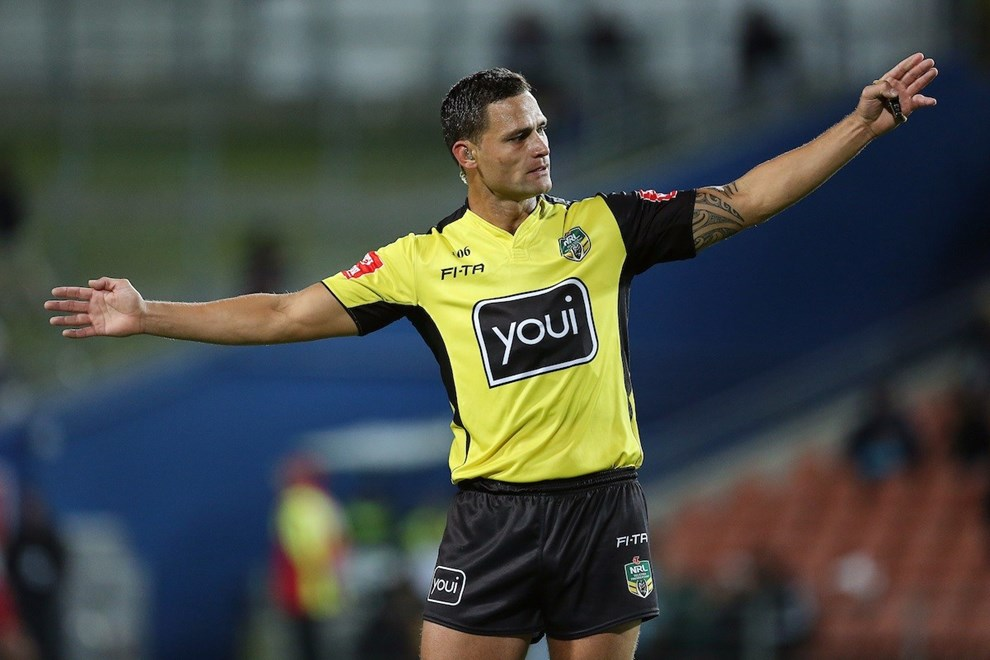 Referee Henry Perenara. Vodafone Warriors v  St George Illawarra Dragons. NRL Rugby League. Waikato Stadium, Hamilton, New Zealand. Friday 19 May 2017 © Copyright Photo: Bruce Lim / www.Photosport.nz