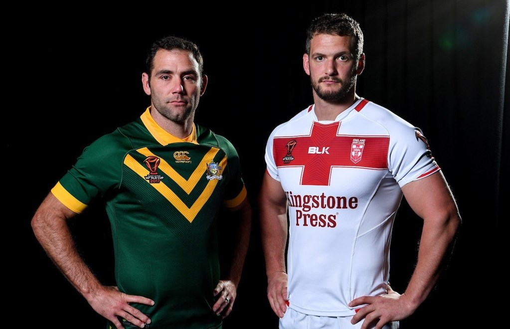 Australian captain Cameron Smith and England captain Sean O'Loughlin. Rugby League World Cup Media photo call featuring the coach and a player from each of the 14 RLWC2017 teams Sofitel, Brisbane, Australia, 22 October 2017. Photos: Grant Trouville / NRL Photos