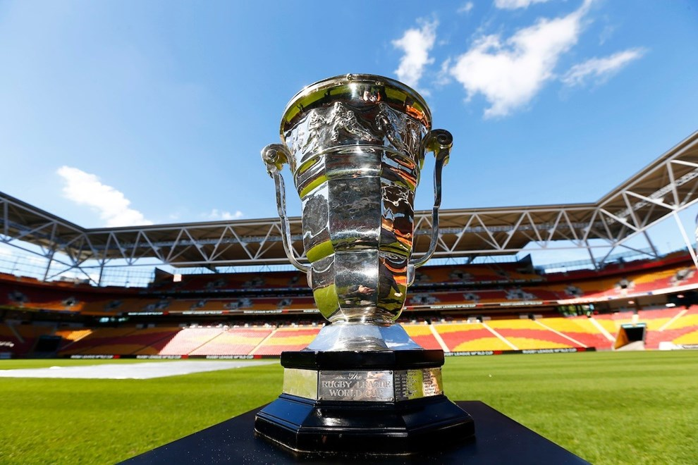 The Rugby League World Cup 2017 Draw Announcement - 19/7/2016 Suncorp Stadium , Brisbane Australia RL World Cup Trophy Photo : Jason O'Brien / Photosport
