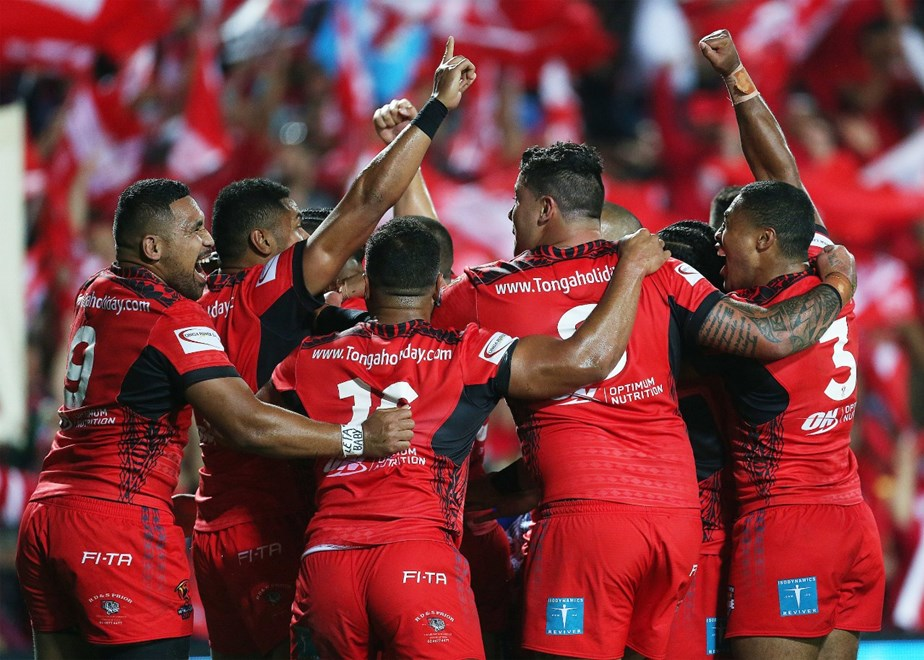 Tonga celebrate a try during the Rugby League Rugby World Cup 2017 Pool B match - Samoa v Tonga played at Waikato Stadium, Hamilton, New Zealand on Saturday 4 November  2017.    Copyright photo: © Bruce Lim / www.photosport.nz