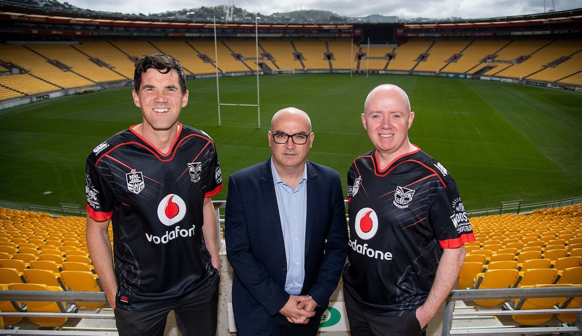 On our way back to the Capital. Pictured at today's announcement were Wellington mayor Justin Lester, Vodafone Warriors CEO Cameron George and Westpac Stadium CEO Shane Harmon.
